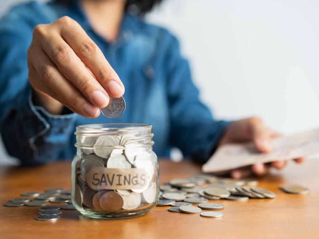 the woman saving money
